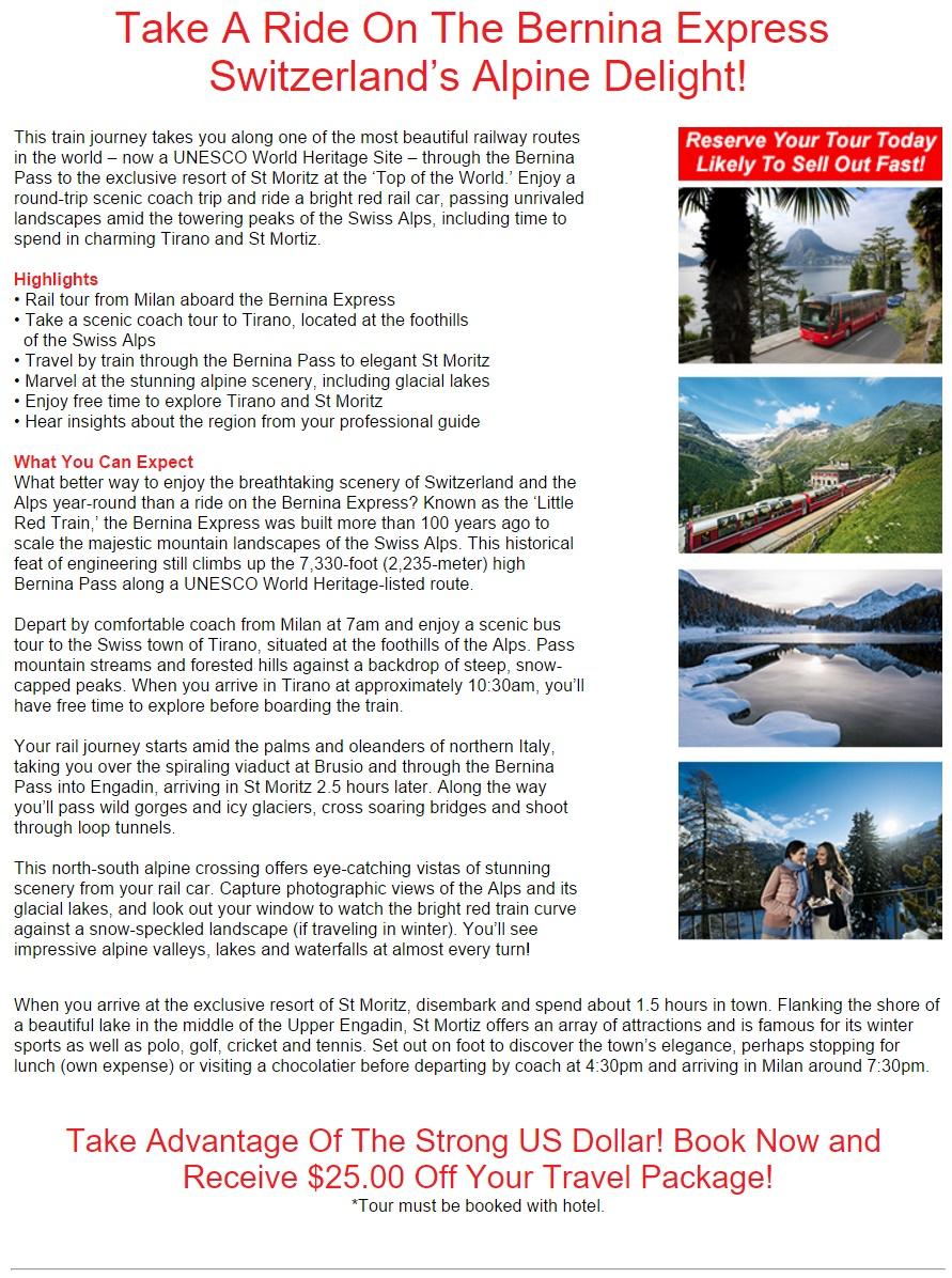 Swiss Alps Bernina Express Rail Tour from Milan – Complete